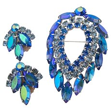 Delizza & Elster for Sarah Coventry Blue Lagoon Brooch and Clip  Earring Set