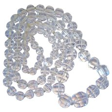 Long Graduated Faceted Rock Crystal Necklace Hand Knotted Endless 37 Inches 134.5 Grams