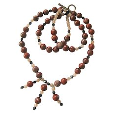Red Jasper Earth Tone Bead Necklace with Fringe and Toggle Clasp