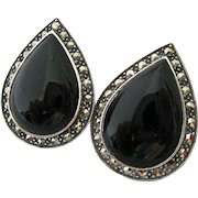 Judith Jack Sterling Silver 925 Onyx Marcasite Large Teardrop Earrings