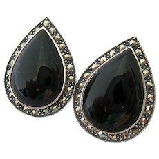Judith Jack Sterling Silver 925 Onyx Marcasite Large Teardrop Earrings