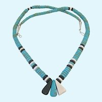 Turquoise, Black, White Necklace Sterling Silver 925 Clasp