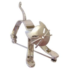 Beau Sterling Silver 925 3-D Cat Pin Brooch Movable Head
