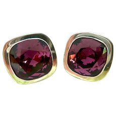Large Impressive Sterling Silver 925 Simulated Amethyst Clip Earrings Mexico