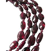 Two Strand Garnet Bead Necklace Sterling Silver 925 Clasp