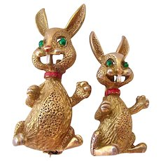 Vintage Pair Two Bunny Rabbit Pins by Gerrys