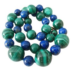 Malachite Lapis Necklace 14K Clasp Hand Knotted Graduated