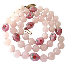Rose Quartz and Art Glass Bead Necklace Hand Knotted 14K Gold Filled Clasp