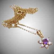 Little 14K Gold Amethyst and Clear Stone Pendant Necklace