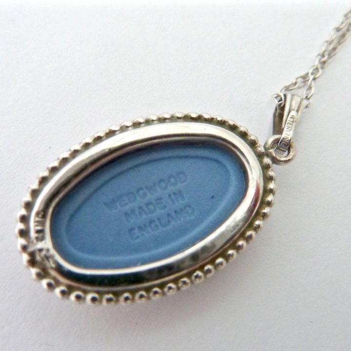 Wedgwood Blue Color Fashion Jewelry Necklaces & Pendants Mermaid Cameo Pendant Necklace .925 Sterling Silver Chain