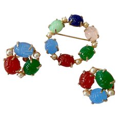 Colorful Glass Scarab Circle Brooch and Earrings Set