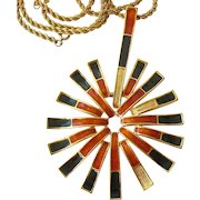 Mod Jomaz Pendant Necklace Gold Tone and Orange Black Enamel GF Rope Chain