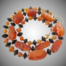Scrumptious Orange/Amber Agate and Black Disk Necklace Rough Hewn