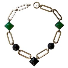 Art Deco Silver Tone Black and Green Glass Necklace