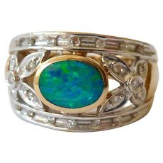 14K Gold Opal and Diamond Tapered Band Ring