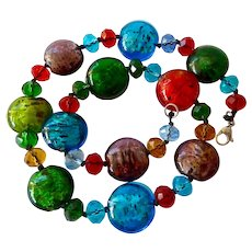 Colorful Art Glass Foiled Coin Necklace