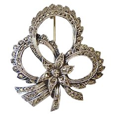 Vintage Sterling Silver 925 and Marcasite Brooch Pin