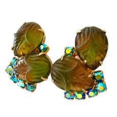 Poured Glass and AB Crystal Clip Earrings