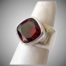 Bold Wide Sterling Silver 925 Band Garnet Ring