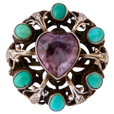 Zoltan White Sterling Amethyst and Turquoise Brooch 1910-40