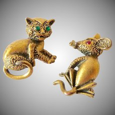 Cute Cat and Mouse Scatter Pins Rhinestone Eyes