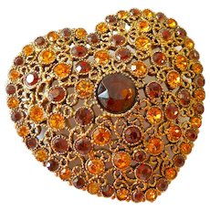 Large Domed Foil Backed Rhinestone Paved Heart Brooch