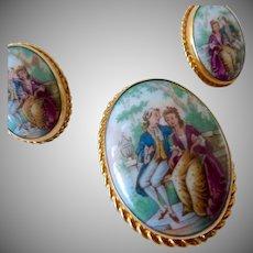 Van Dell Limoges Porcelain 12K GF Brooch Earrings Set