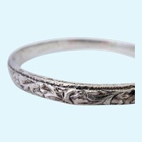 Deeply Carved Heavy Silver Bangle Bracelet 28.8 Grams