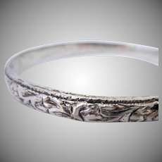 Deeply Carved Heavy Silver Bangle Bracelet 28.8 Grams