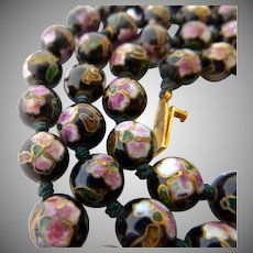 Black Cloisonné Bead Necklace Hand Knotted Fiigree Clasp