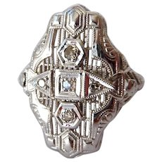 Art Deco 14K White Gold Diamond Ring