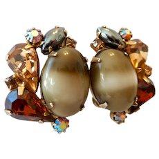Hattie Carnegie Multi-Color Glass Stone Clip Earrings