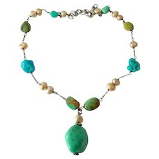Sterling Silver 925 Turquoise Colored Stone and Cultured Pearl Necklace