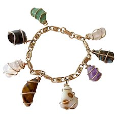 Multi Wrapped Gemstone Dangle Gold Tone Bracelet