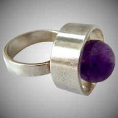 Sterling Silver 925 Amethyst Modernist Ring Niels Erik From Denmark