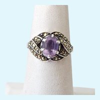 Sterling Silver 925 Amethyst and Marcasite Ring