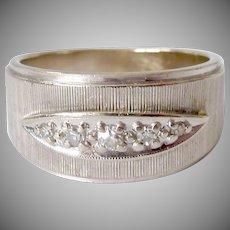 14K White Gold Five Diamond Band Ring 6.0 Grams