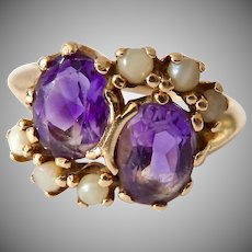 Vintage 14K Gold Amethyst and Pearl Ring