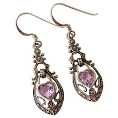 Sterling Silver 925 Pink Sapphire Marcasite Filigree Dangle Earrings