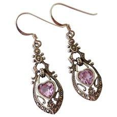 Sterling Silver 925 Pink Sapphire Marcasite Filigree Dangle Earrings