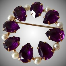 Krementz Circle Pin with Cultured Pearls and Amethyst Glass Stones