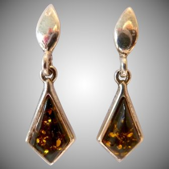 Sterling Silver 925 Amber Colored Dangle Post Earrings