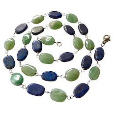 Lapis and Aventurine Bead Wired Necklace