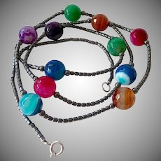 Interesting Hematite Necklace with Multi-Color Agate Stations Sterling Clasp