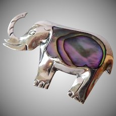 Sterling Silver 925 Elephant Pin with Abalone