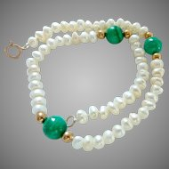 14K Gold Cultured Pearl and Malachite Bracelet