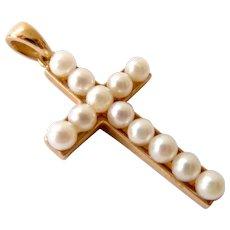 14K Gold Cultured Pearl Cross Pendant