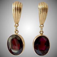 14K Gold Garnet Dangle Earrings