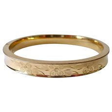 12K Gold Filled Hinged Bangle Bracelet Signed Marathon