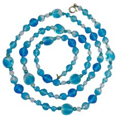 Pretty Shades of Blue Glass Bead Necklace